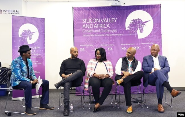 VOA's Jackson M'vunganyi, in hat, speaks with panelists: from left, Yonas Beshawred, founder of StackShare; Michelle Stewart, attorney at Covington & Burling; Stephen Ozoigbo, CEO, African Technology Foundation; and Andile Ngcaba, founder of Convergence P