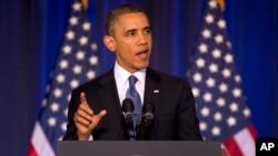 2013年5月23日奥巴马总统在华盛顿到美国国防大学发表讲话。