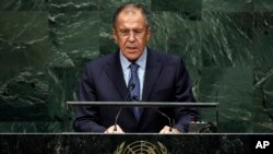 FILE - Russia's Foreign Minister Sergey Lavrov delivers his address at the 69th session of the United Nations General Assembly, at U.N. headquarters in New York, September 2014.