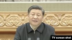 中国领导人习近平通过电视电话会议对十七万人发表讲话。