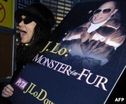 Jennifer Lopez daha önce de kürk giydiği için PETA üyelerince protesto edilmişti.