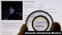 A photograph of Djohar Tsarnaev, who is believed to be Dzhokhar Tsarnaev, a suspect in the Boston Marathon bombing, is seen on his page of Russian social networking site Vkontakte (VK), as pictured on a monitor in St. Petersburg April 19, 2013.