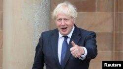 Le Premier ministre britannique Boris Johnson au château de Hillsborough, à Belfast, en Irlande du Nord, le 13 août 2020.
