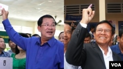 Cambodian Prime Minister Hun Sen (left) shows his ballot to the national and international media during the fourth commune elections, in Kandal province outside Cambodia's capital Phnom Penh, Sunday, June 4, 2017. On the same day, Kem Sokha, president of the Cambodia National Rescue Party (CNRP), casts his vote at Chak Angre Leu Primary School in Phnom Penh, near his party's headquarters. (Khan Sokummono/Aun Chhengpor/VOA Khmer)