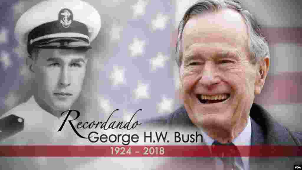 青年军官布什和老年布什。美国第41任总统 乔治·赫伯特·沃克·布什(老布什) 2018年11月30日逝世,享年94岁。老布什是第43任总统小布什的父亲,出身于显赫的政坛要人家庭,以一种荣誉、义务和服务精神担任公职60年,直到20世纪末尾。