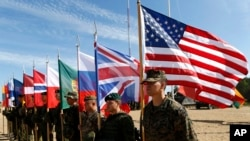 FILE - Soldiers from NATO countries attend a opening ceremony of military exercise Saber Strike 2015, at the Gaiziunu Training Range in Pabrade some 60km (38 miles) north of the capital Vilnius, Lithuania, June 8, 2015.