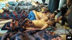 Жертвы приминения химического оружия. Хан-Шейхун, провинция Идлиб, Сирия, 4 апреля, 2017.