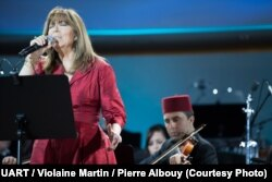 María del Mar Bonet performs during the Mediterranean Concert at the Chamber of the Alliance of Civilizations & Human Rights, United Nations, Geneva, Switzerland, July 9, 2016.