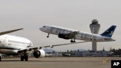西雅圖機場飛機起飛時情形。(資料照片)