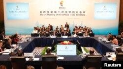 지난달 1일 중국 상하이에서 열린 브릭스(BRICS) 상무장관 회의 개막식에서 중산 중국 상무장관이 연설하고 있다. (자료사진)
