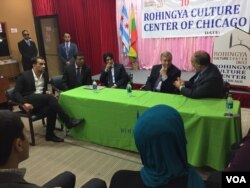 After Senator Dick Durbin, seated center, talked with local Rohingya leaders, Durbin told VOA he wants the U.S. to immediately terminate military-to-military contact with Myanmar.