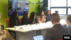 The Center for Migrant Rights hosts a discussion on exploitation of immigrant women workers, Sept.12, 2017, in Washington. The group, made of migrant workers, advocates and policy experts, discussed flaws in U.S. guest worker programs, while sharing personal stories of exploitation from recruitment throughout employment.