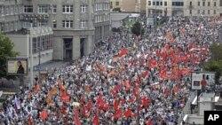 러시아 모스크바의 반정부 시위 행진.