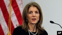FILE - U.S. Ambassador to Japan Caroline Kennedy