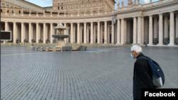 罗马天主教香港教区荣休主教陈日君枢机造访罗马。(陈日君主教脸书图片)