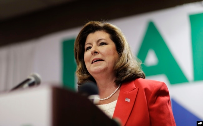 Republican candidate for Georgia's Sixth Congressional seat Karen Handel speaks at an election night watch party in Roswell, Georgia, April 18, 2017.