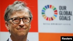 Bill Gates attends a news conference as the foundation teams up with the Japan Sports Agency and Tokyo 2020 to promote the Sustainable Development Goals in conjunction with the Olympics, in Tokyo, Nov. 9, 2018.