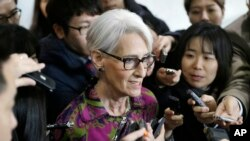 FILE- U.S. Deputy Secretary of State Wendy Sherman speaks to reporters after her meeting in Seoul, South Korea, Thursday, Jan. 29, 2015. (AP Photo/Ahn You