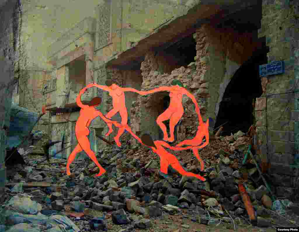 """A circle of women from """"The Dance"""" by Matisse celebrate over the remnants of an abandoned street in Homs. By Tammam Azzam."""