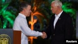 El presidente colombiano, Juan Manuel Santos, recibió al vicepresidente de EE.UU., Mike Pence en la casa de huéspedes ilustres en Cartagena.