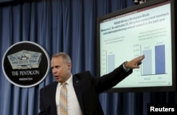 Nathan Galbreath, senior executive advisor for the Department of Defense Sexual Assault Prevention and Response Office, speaks at a news conference at the Pentagon in Washington to release the Annual Report on Sexual Assault in the Military, May 1, 2015.