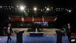 Generalna proba uoči treće predsedničke debate između demokrate Hilari Klinton i republikanca Donalda Trampa u Las Vegasu, 18. oktobra, 2016.