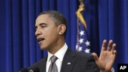 奥巴马总统周二在华盛顿就同国会领导人会晤发表讲话