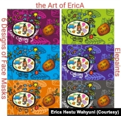 Masker dengan aneka warna logo lukisan Erica.(Foto: Erica Hestu Wahyuni)