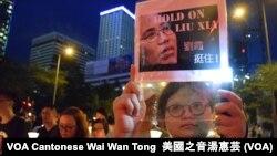 Para pengunjuk rasa mengusung poster untuk mendukung Liu Xia (VOA/Wai Wan Tong)