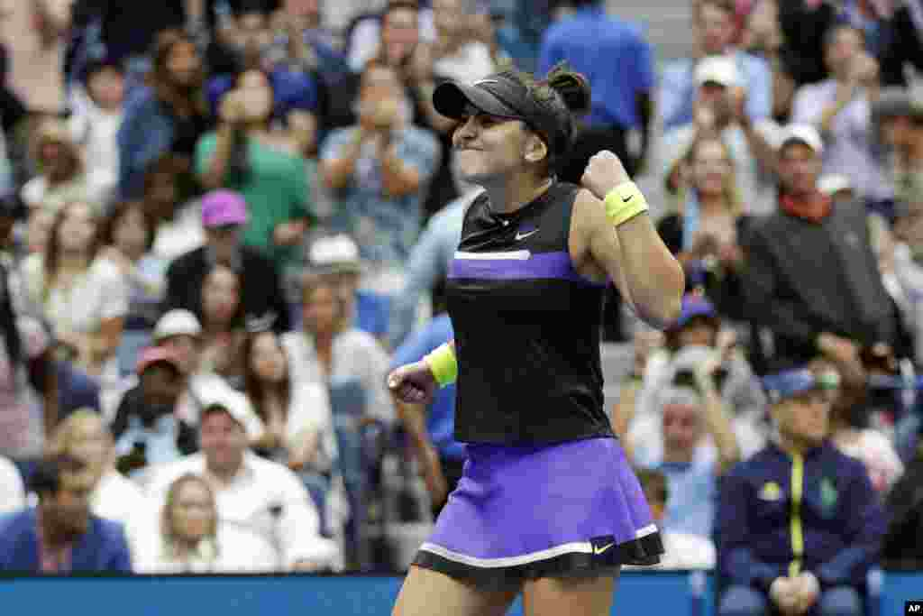 Bianca Andreescu of Canada, reacts after defeating Serena Williams of the United States, in the women's singles final of the U.S. Open tennis championships, Sept. 7, 2019, in New York.