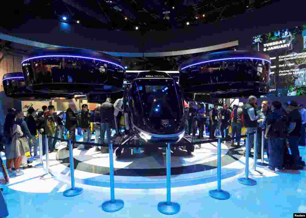 The Bell Nexus, a vertical take-off and landing (VTOL) aircraft is displayed during the 2019 CES in Las Vegas, Nevada, Jan. 8, 2019.