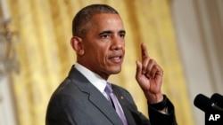 Tư liệu - Tổng thống Barack Obama phát biểu tại Phòng phía Tây Nhà Trắng, thủ đô Washington.