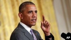 Tổng thống Hoa Kỳ Barack Obama phát biểu tại Toà Bạch Ốc ở Washington. (Ảnh tư liệu)