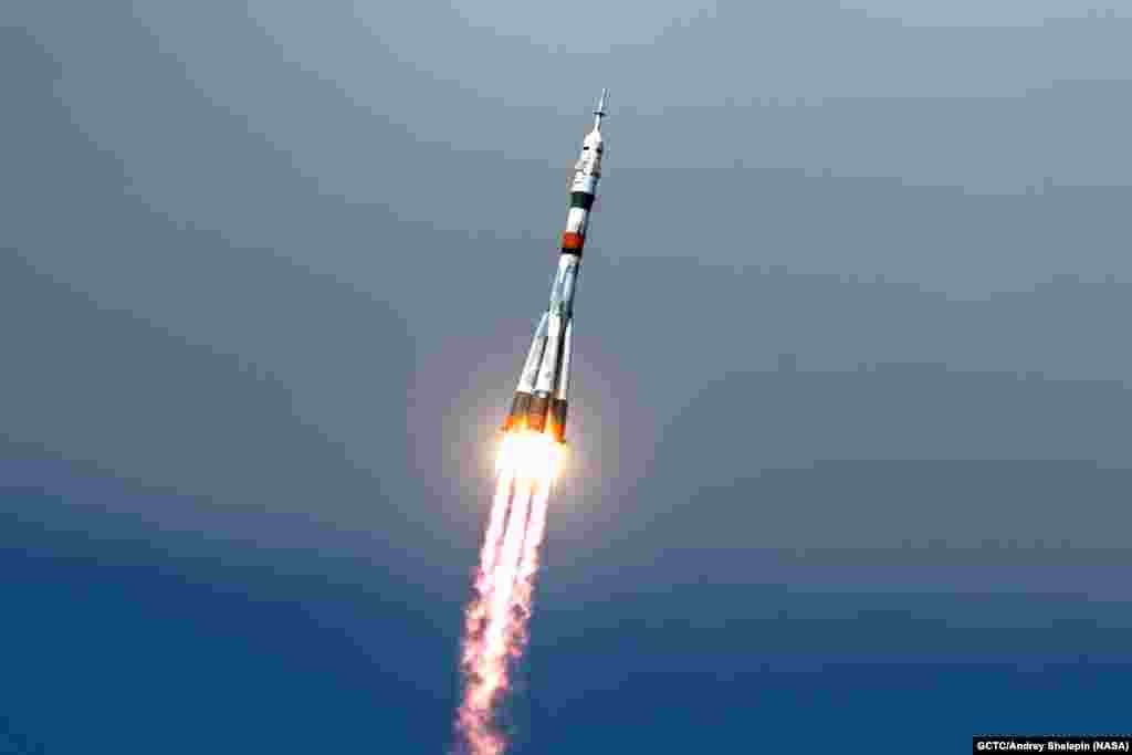 The Soyuz MS-16 lifts off from Site 31 at the Baikonur Cosmodrome in Kazakhstan, sending Expedition 63 crew members Chris Cassidy of NASA and Anatoly Ivanishin and Ivan Vagner of Roscosmos into orbit for a six-hour flight to the International Space Station.