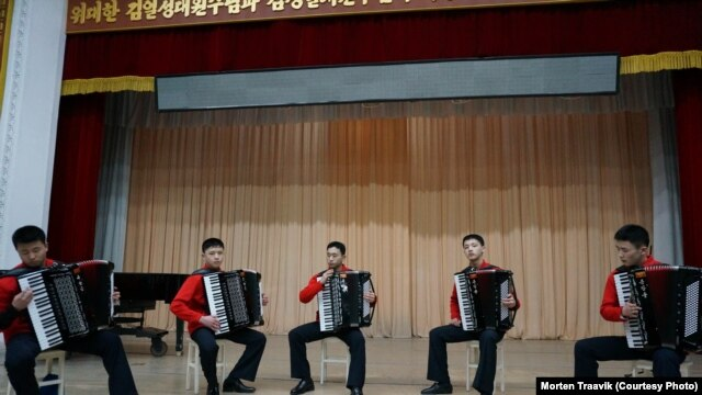 North Korean students at Pyongyang's Kum song Music School perform for Norwegian television cameras. March 12, 2013