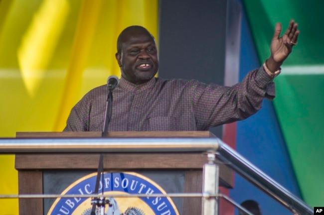 South Sudan's opposition leader Riek Machar speaks at peace celebrations in the capital Juba, South Sudan, Oct. 31, 2018.