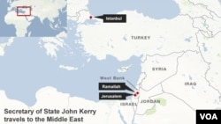 Secretary of State John Kerry's destinations on his upcoming trip to the Middle East.