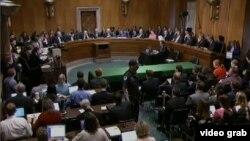 美參院外交關係委員會通過伊核協議議案(VOA視頻截圖)