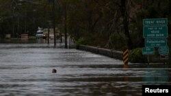 Ngập lụt ở thành phố New Bern, bang North Carolina.