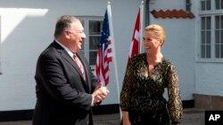 美國國務卿蓬佩奧在哥本哈根會晤丹麥首相梅特·弗雷德里克森。 (2020年7月22日)
