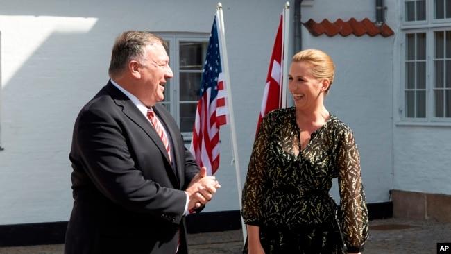 美国国务卿蓬佩奥在哥本哈根会晤丹麦首相梅特·弗雷德里克森。(2020年7月22日)