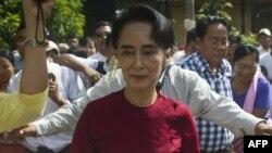 緬甸'全國民主聯盟'領導人昂山素姬。