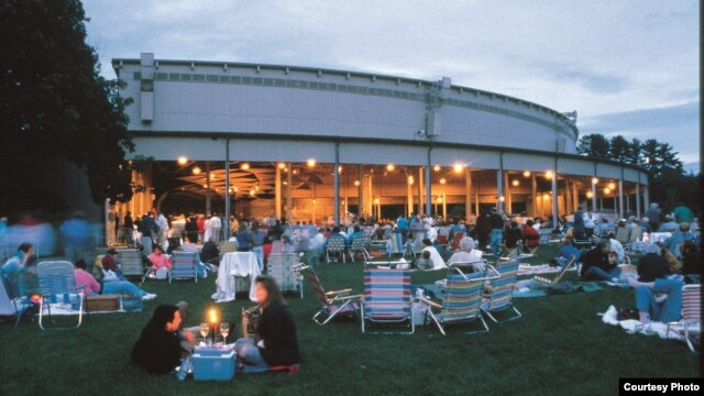 Tanglewood, summer home of the Boston Symphony, at dusk. (Stu Rosner)