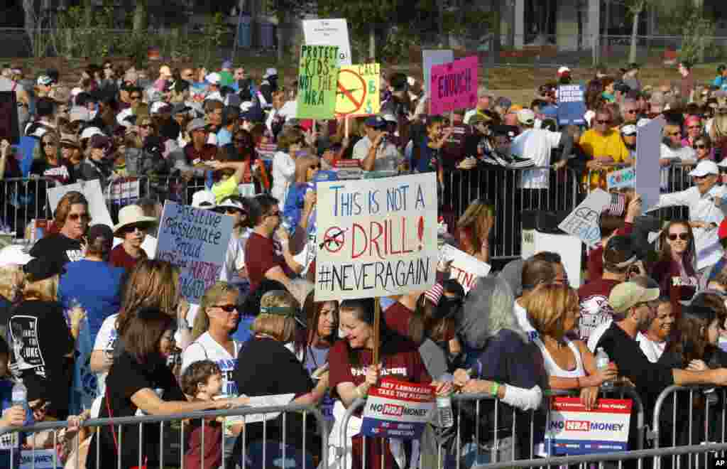 "Participants gather during the ""March For Our Lives-Parkland"" event, in Parkland, Fla."