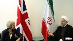 دیدار حسن روحانی با نخست وزیر بریتانیا در حاشیه نشست مجمع عمومی سازمان ملل متحد در نیویورک - ۳۰ شهریور ۱۳۹۵