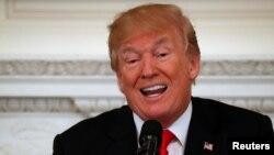 川普2018年2月26日在白宫主持一个活动(路透社)