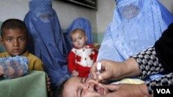 Seorang anak di wilayah Jalalabad, Afghanistan, sedang divaksinasi polio melalui mulut.