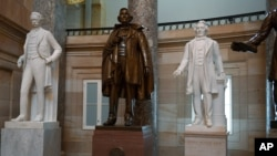 A statue of Jefferson Davis of Mississippi is on display in Statuary Hall on Capitol Hill in Washington, June 11, 2020.