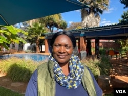 Chengetayi Nyamukapa, country coordinator for Friendship Bench, says due to COVID-19, the organization is now mainly doing online counseling. (Columbus Mavhunga/VOA)
