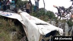 Restos do avião que caiu em Machipanda, Moçambique